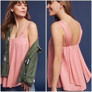 Anthropologie Vanessa Virginia Knotted Pink Tank S